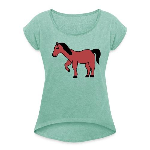 pferd Pony Reiten - Frauen T-Shirt mit gerollten Ärmeln