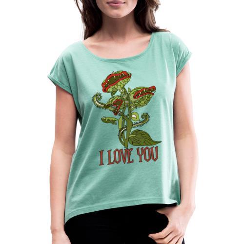 carnivorous plant - Frauen T-Shirt mit gerollten Ärmeln