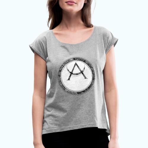 Mystic motif with sun and circle geometric - Women's T-Shirt with rolled up sleeves