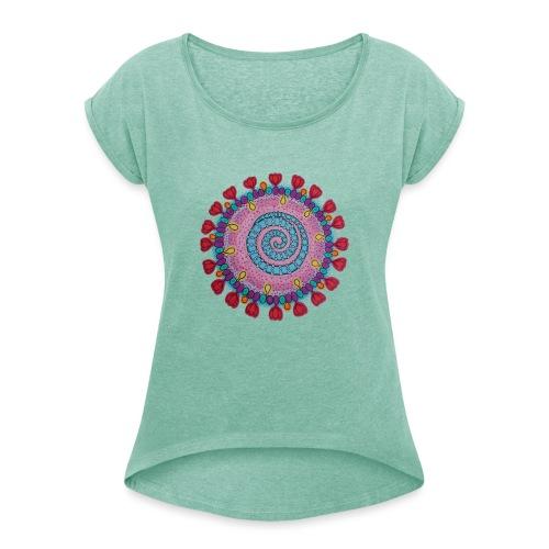 Corona cell - T-shirt med upprullade ärmar dam