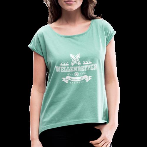 Geweihbaer Wellenreiter - Frauen T-Shirt mit gerollten Ärmeln
