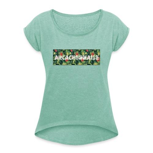 45581764 seamless pattern avec des fleurs - T-shirt à manches retroussées Femme