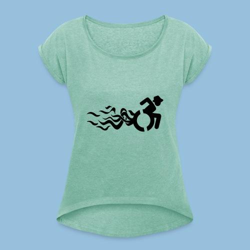 Wheelchair with flames 013 - Vrouwen T-shirt met opgerolde mouwen
