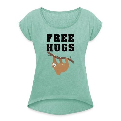 Funny Sloth Quotes - Frauen T-Shirt mit gerollten Ärmeln