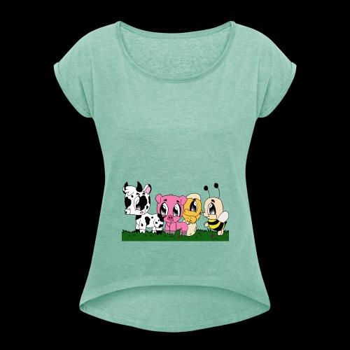 cute animals - Frauen T-Shirt mit gerollten Ärmeln