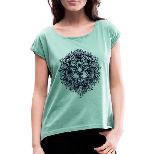 Lion Head - Koszulka damska z lekko podwiniętymi rękawami