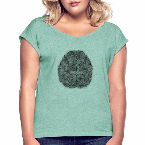 Cerebro abstracto - Camiseta con manga enrollada mujer