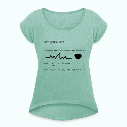 schönheit ve 1702410_1333 - Frauen T-Shirt mit gerollten Ärmeln