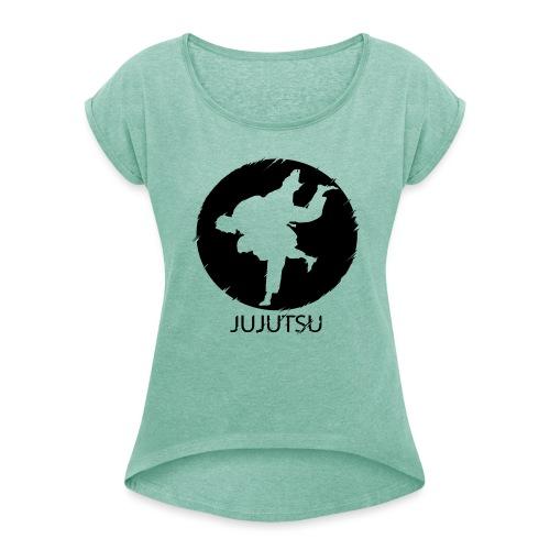 JuJutsu Glitch - Frauen T-Shirt mit gerollten Ärmeln