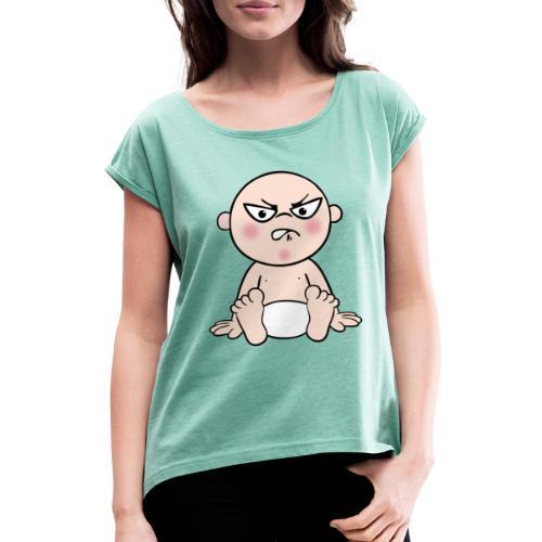 Böses Baby - Frauen T-Shirt mit gerollten Ärmeln