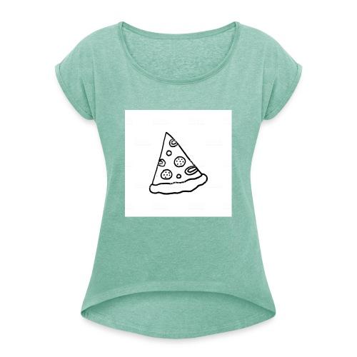 Pizza Forever - Frauen T-Shirt mit gerollten Ärmeln