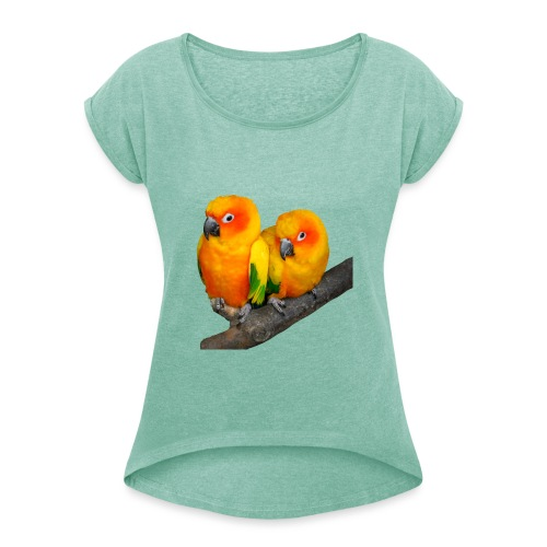 Parrots Love Valentin's Day 2018 - T-shirt à manches retroussées Femme