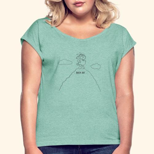 Schafbock: Bock auf ... - schwarz - Frauen T-Shirt mit gerollten Ärmeln