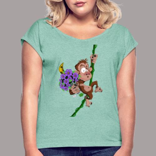 bouquet de fleurs - singe - T-shirt à manches retroussées Femme