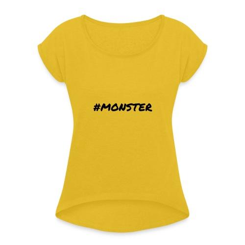 Monster - Vrouwen T-shirt met opgerolde mouwen