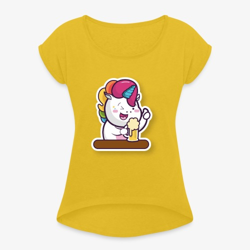 Funny Unicorn - Women's T-Shirt with rolled up sleeves