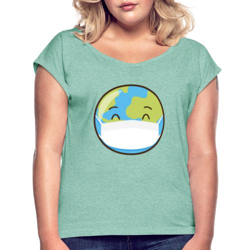 Mundo mascarilla - Camiseta con manga enrollada mujer