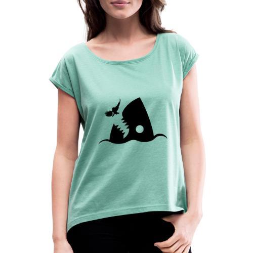 Hai - Frauen T-Shirt mit gerollten Ärmeln