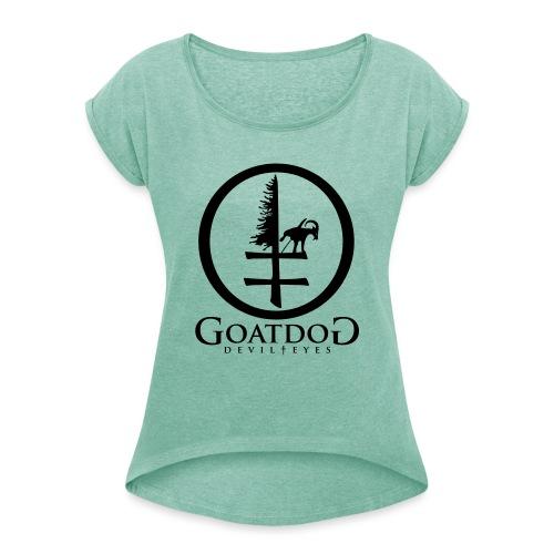 goatdog devil eyes - Frauen T-Shirt mit gerollten Ärmeln
