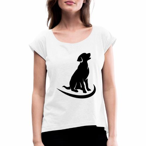 siluetta perro - Camiseta con manga enrollada mujer