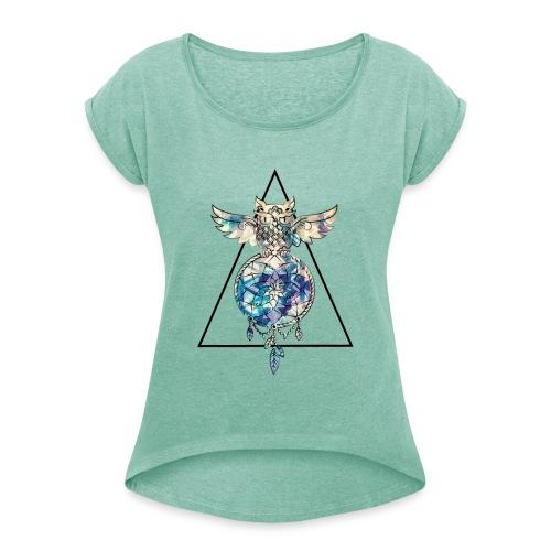 hibou-2 - T-shirt à manches retroussées Femme