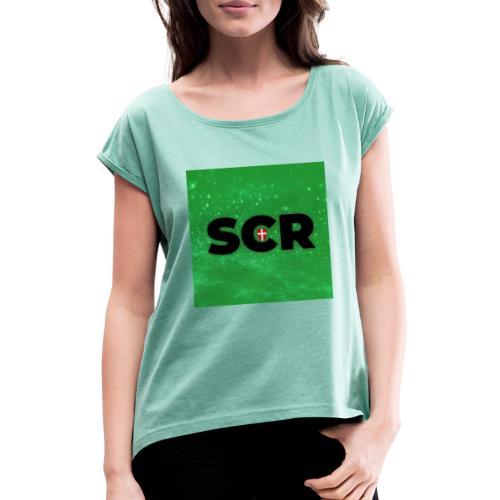 Photo 1563807109015 - Frauen T-Shirt mit gerollten Ärmeln
