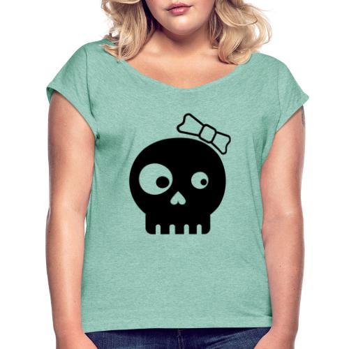 totenkopf bones minimalistic kids girl - Frauen T-Shirt mit gerollten Ärmeln