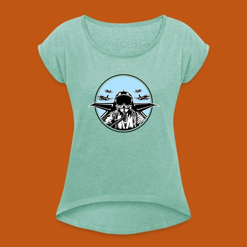 Jet Pilot / Kampfpilot 01_weiß Schwarz - Frauen T-Shirt mit gerollten Ärmeln