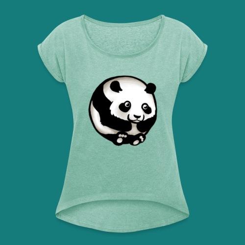 Merch - T-shirt med upprullade ärmar dam