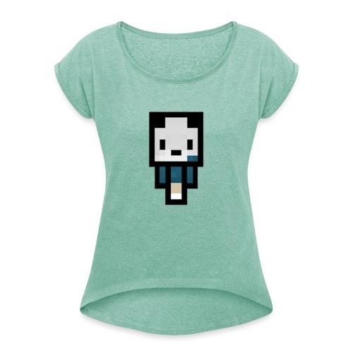 AndyboyTV - Frauen T-Shirt mit gerollten Ärmeln