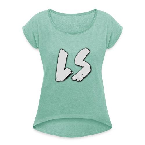 ls logo - Vrouwen T-shirt met opgerolde mouwen