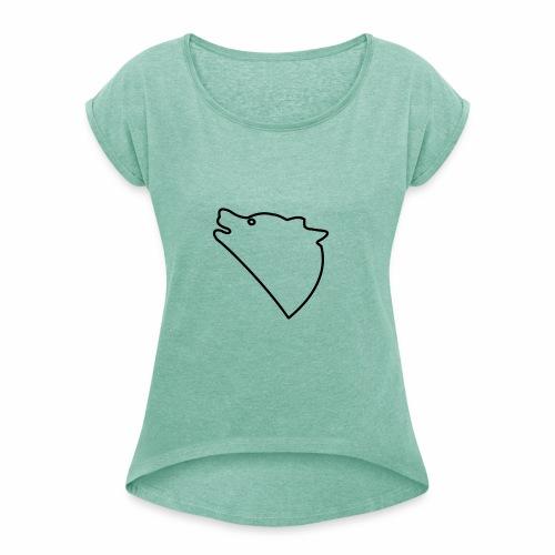 Wolf baul logo - Vrouwen T-shirt met opgerolde mouwen