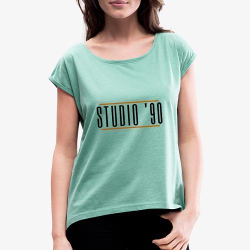 Logo zwart Studio 90 - Vrouwen T-shirt met opgerolde mouwen
