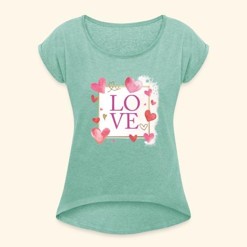 LOVE E HEARTS - Maglietta da donna con risvolti