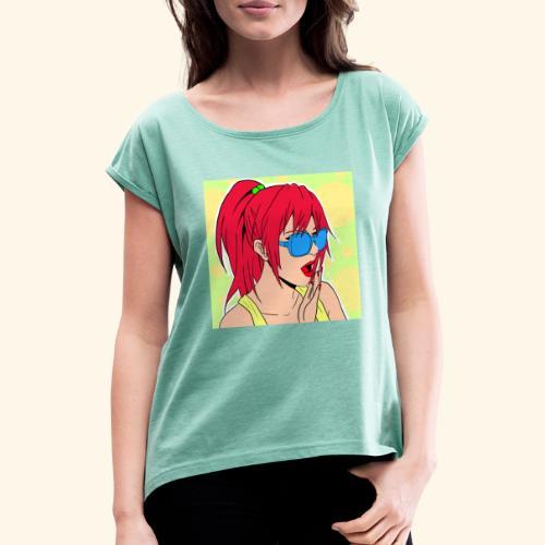 Red Lipstick - Frauen T-Shirt mit gerollten Ärmeln