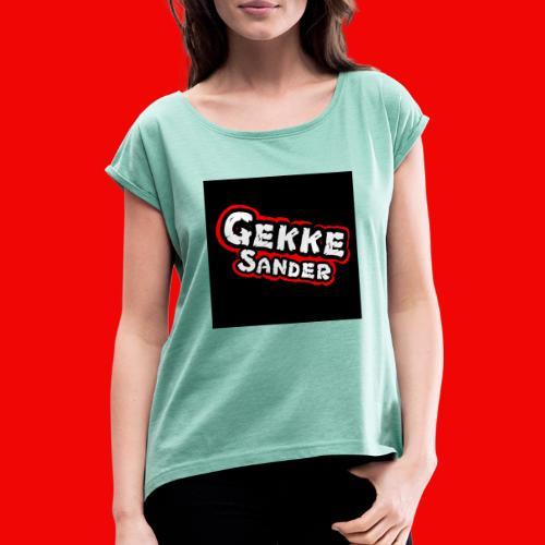 GekkeSander Logo - Vrouwen T-shirt met opgerolde mouwen