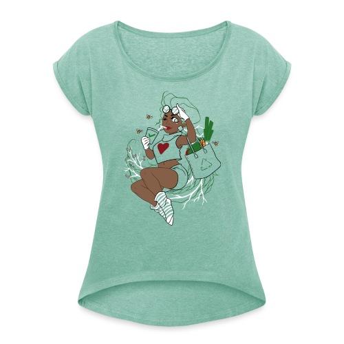 Mother Earth - Frauen T-Shirt mit gerollten Ärmeln