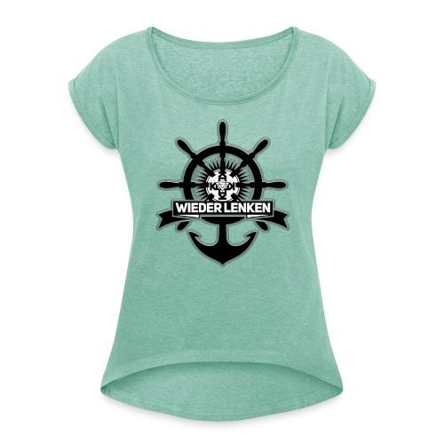 56CD9472-4879-4AF4-82A4-7 - Frauen T-Shirt mit gerollten Ärmeln