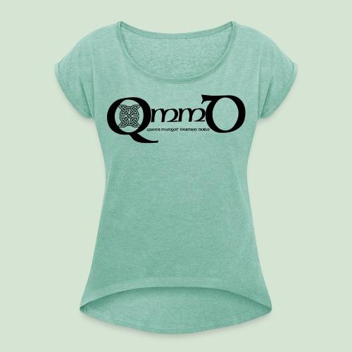 QmmD Logo Black - Frauen T-Shirt mit gerollten Ärmeln