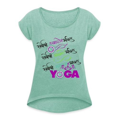 Sanskrit Yoga - Frauen T-Shirt mit gerollten Ärmeln