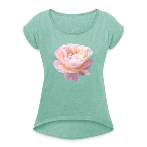 A pink flower - Women's T-Shirt with rolled up sleeves