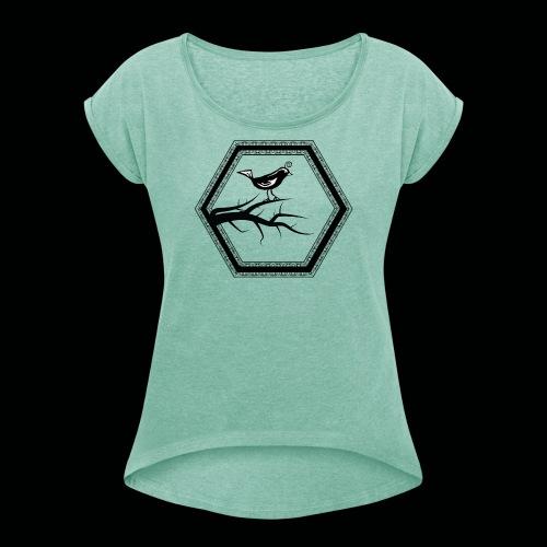 Vogel - Frauen T-Shirt mit gerollten Ärmeln