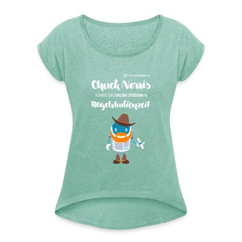 Online-Studium in Regelstudienzeit - Frauen T-Shirt mit gerollten Ärmeln