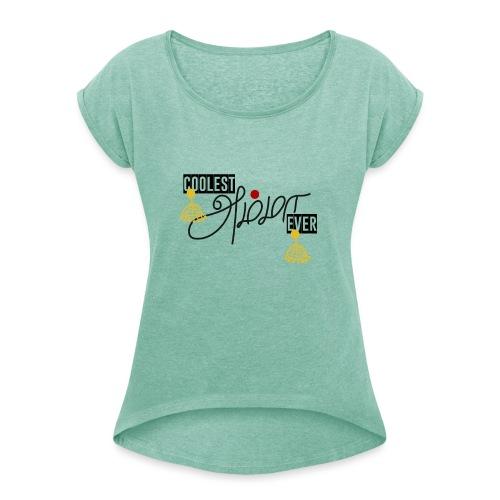 coolest amma - Frauen T-Shirt mit gerollten Ärmeln