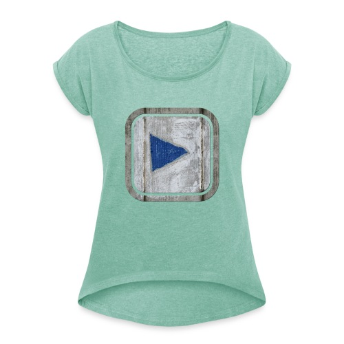 hier entlang ! - Frauen T-Shirt mit gerollten Ärmeln