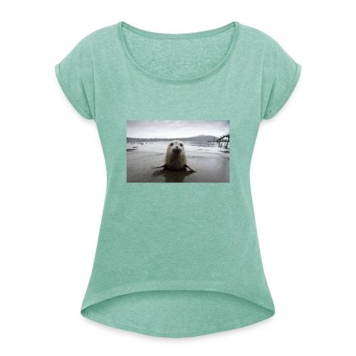 Sel - T-skjorte med rulleermer for kvinner