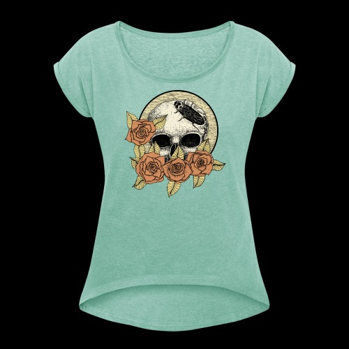 Rose et tête de mort - T-shirt à manches retroussées Femme
