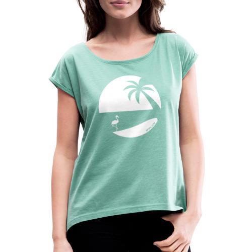 Logo French Floridian blanc - T-shirt à manches retroussées Femme