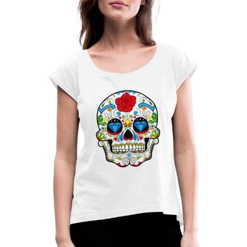 Totenkopf Abstrakt - Frauen T-Shirt mit gerollten Ärmeln