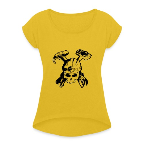 Skull and Crossbones - Women's T-Shirt with rolled up sleeves